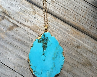 Gold Plated Turquoise Necklace, Natural Stone Necklace, Gold Necklace, Long Necklace