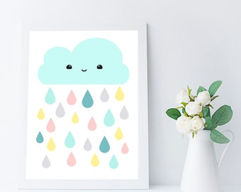 kawaii cloud printable wall art for nursery or kids room - 8x10 in - A4