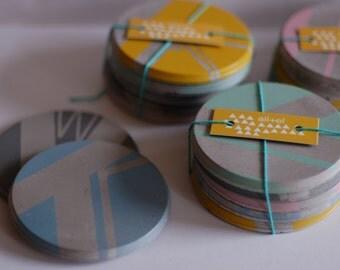 Concrete Coasters - 4 piece multi coloured pastel set, Geometric Patterns