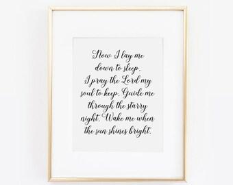 Now I Lay Me Down to Sleep, Nursery Print, Nursery Quote, Nursery Wall Art, Pray the Lord my Soul to Keep, Nursery Quote, Nursery Printable