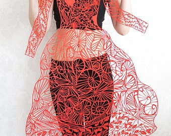 """SALE!Awesome paper cut lace red dress """"Lovers"""" Paper cut art work, original paper cutting hand cut paper art silhouettes by Eugenia Zoloto"""