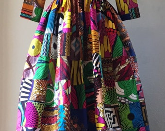 African Wax Print Genuine Patchwork Maxi Dress With Pockets, 3/4 Sleeves and Optional Sash