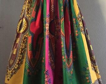 Multi Color Dashiki Patchwork Maxi Skirt 100% Cotton Super Full