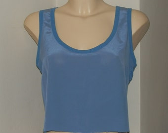 Reclaimed Vintage Blue Sleeveless Raw Edge Crop Vest Top UK Size 6/10