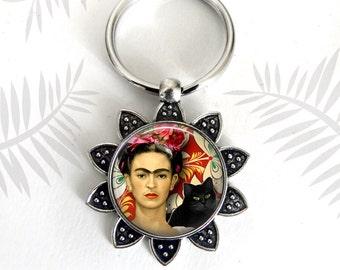 Frida Kahlo Keychain, Women Artist, Photo Image Pendant, Frida Gift, Frida with Cat, Famous Artist, Mexican Artist, Gift for Artist