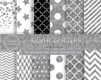 SALE *** Silver Glitter Digital Paper - Backgrounds - for graphic design, crafts,scrap booking - INSTANT DOWNLOAD (DP0052 #2)