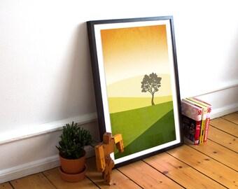 Abstract Landscape Art Print, Mid Century Modern Art, Minimalist Poster, Green Wall Art, Yellow Wall Art, Spring, Summer, Fields