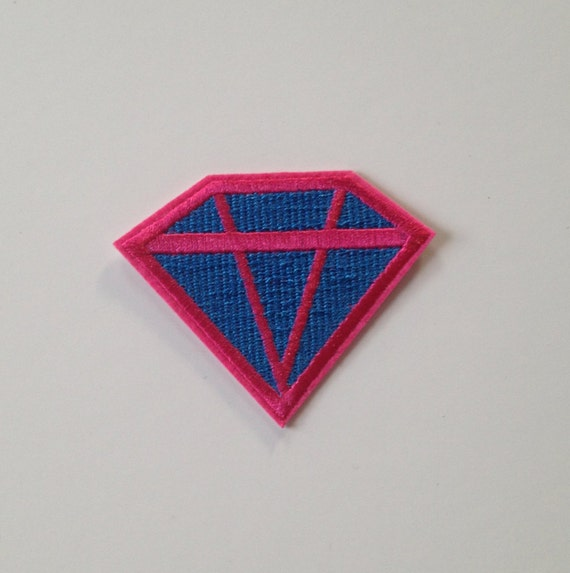 Pink and Blue Diamond Iron on Patch