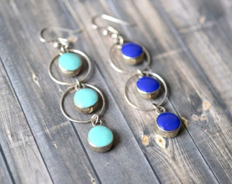 Sterling Silver, Lapis, and Turquoise Reversible Dangle Earrings