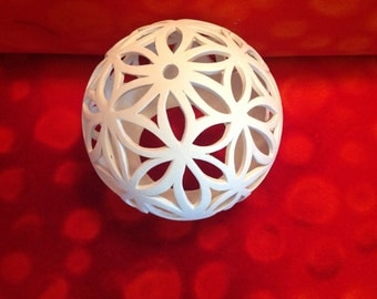 Flower of life variation white lights ball from clay