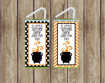 Witches Brew Juice Box Wrappers Labels. Instant Digital Download. for Halloween Party, Kids Class Party, Snack Time, Witch Party