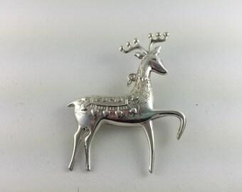 Sterling Silver Oneida 1974 Cupid Reindeer Brooch/Pendant