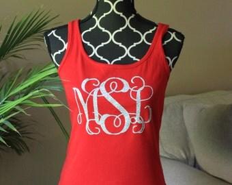 Monogram Large Tank Top, Sleeveless shirt, glitter monogram, vinyl monogram, bridesmaid gift