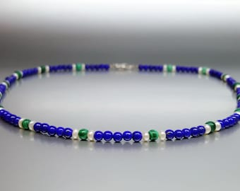 Fine necklace Lapis Lazuli, Malachite and freshwater pearls - gift idea - fine necklace with AAA Grade Lapis combined green Malachite
