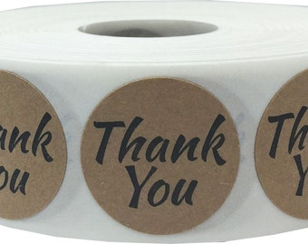 "500 Round Brown Kraft Thank You Wedding Sticker Seals with Black Print   1"" Inch Adhesive Labels"