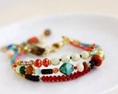Orange Turquoise Multi Strand Bracelet, Beaded Bracelet, Joy Bracelet, Stamped Jewelry, Stamped Bracelet, Charm Bracelet, Quirky Nook