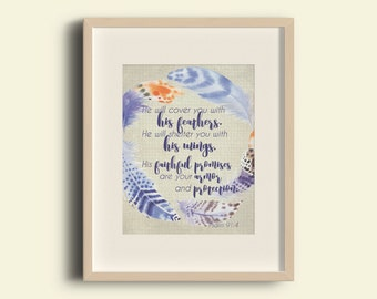 Covered with His Feathers Psalm 91:4 Scripture Watercolor Wall Art