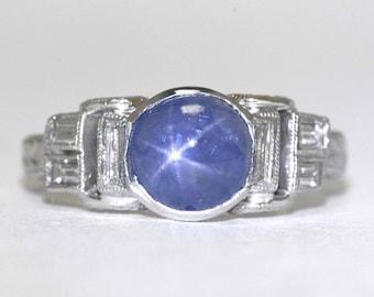 Vintage Art Deco Star Sapphire Engagement Ring Platinum Antique Diamond Low Bezel Setting Bevel White Gold  Engraved Band Unique Design