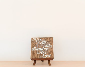 Not all who wander are lost wood sign with compass - Dark brown/Mint