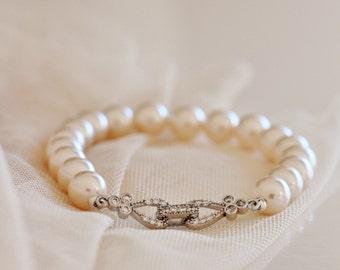 Pearl Bridal Bracelet Ivory Pearl Bracelet Bridesmaid Gift Bracelet Wedding Bracelet Pearl Bridal Jewelry Bridesmaid Jewelry