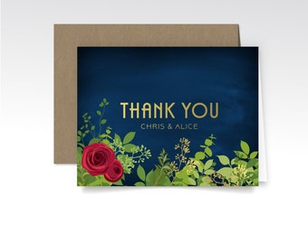 The ALICE Garden . Thank You Custom Cards & Envelopes . Printed Heavy Weight Folded Cards . Art Deco Great Gatsby 1920s Gold Silver Red Rose