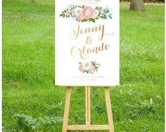 The JENNY . Rose Gold Copper Welcome Wedding Ceremony Sign Pink Peony Ranunculus White Rose Garland Dusty Miller Olive . Large Printed Sign