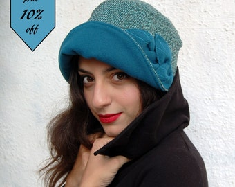 Turquoise Cloche hat 1920s-Cloche hat-Large brim Ready to ship