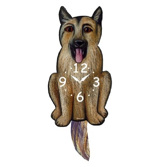 German Shepherd Dog Wagging Tail Pendulum Clock