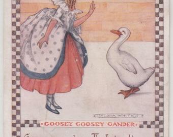 Flora White A/S Circa 1920 Nursery Rhyme Postcard, Goosey Goosey Gander