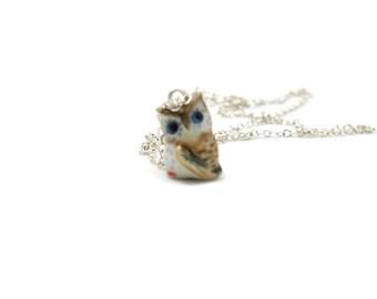 Owl Necklace, Charm Necklace, Charm Jewelry, Owl Pendant, Owl Jewelry, Owl Charm, Jewelry Gift, Brown Owl Necklace, Night Owl Necklace