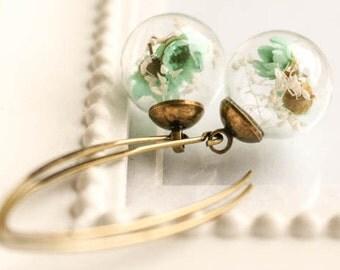 Bronze Earrings real Flower, Flowers Earrings, vial ba, glass globe, drop earrings, long earrings, statement earrings,beaded dangle earrings