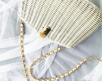 Basket Purse, Wicker Purse, Wicker Clutch, Wicker Bag, Basket Bag, Vintage Clutch, Bridal Clutch, Wedding Purse, Wedding Clutch, Vintage Bag