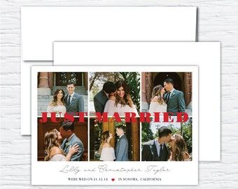Just Married, Multi Photo, Photo Wedding Announcement, Thank You Card, Customizable Digital or Printed Announcement