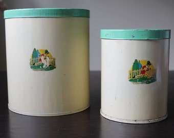 Vintage Tin Canister Set of 2