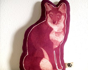 Fox shaped pillow, printed on linen with inkodye in magenta and plum, handmade woodland themed decor for a living room or child's nursery