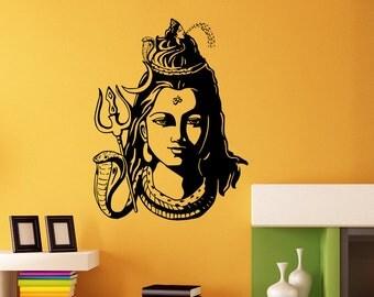Indian God Religion Hinduism Hindu Wall StickersShiva India Vinyl Decal Shiva wall decal, sticker, mural,omm vholanath vinyl wall art @122