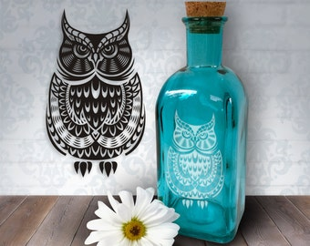 Wise Tribal Owl | 17oz Laser Etched Recycled Spanish Blue Glass Bottle or Vase