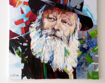 Lubavitcher Rebbe Chabbad Original  Large Oil  Painting Contemporary Pallete Knife Jewish Painting Lubavitch Habad Rabbi Portrait Gadi dadon