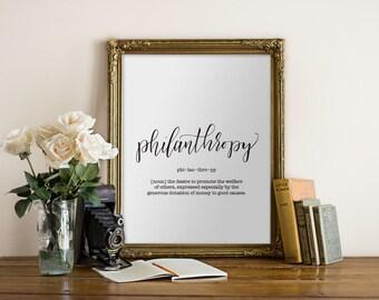 Philanthropy Dictionary Definition Printable Art Print PDF JPEG, printing at home, classroom, home decor  // Hewitt Avenue