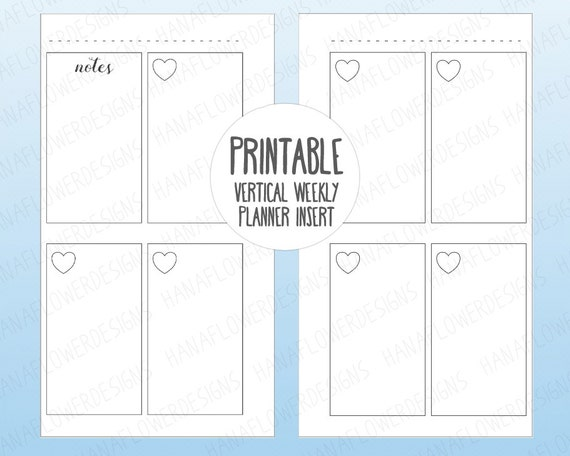 printable personal planner inserts box planner weekly planner vertical planner printable inserts undated week on two pages download