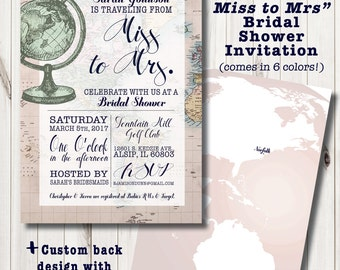 travel bridal shower  etsy, Bridal shower invitations