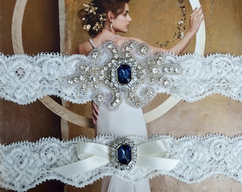 Navy Blue Vintage  Wedding Garter Set, Crystal Bridal Garter Set, Vintage Inspired Wedding Stretch Lace Garter, Bridal Garter, Garter