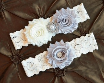 Wedding Garter Set, Bridal Garter Set, Ivory Lace Garter, Gray Wedding Garter, Keepsake Garter, Toss Garter, Gray & Ivory Wedding Garter