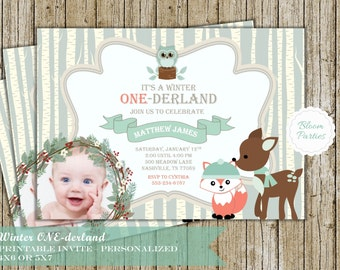 Winter Onederland Boy Winter Onederland Invitation First Birthday Party Invite Fox Digital Printable Invite