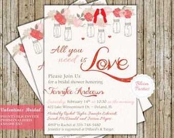 Valentines Bridal Shower Invitation LOVE Birds Mason Jars Wedding Shower Invite All You Need Is Love Digital Printable