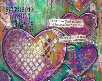 Mixed Media, instant download, printable, journal page, printable art, Hearts ,digital download, Journal Page inspirational quotes
