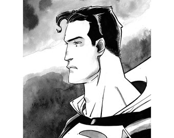 Superman Original Ink Wash Drawing 8.5x11