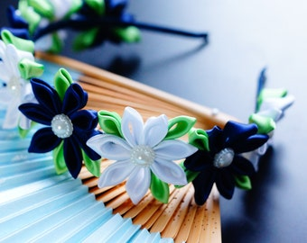 Blue and white flower crown Kanzashi