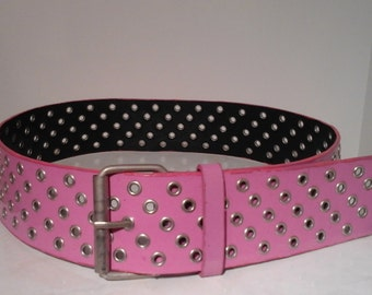Vintage Pink Punk Emo Goth Grommet Belt