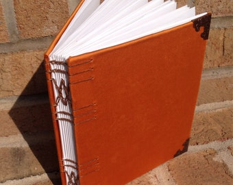 Journal: Hand Bound, Orange Satin, Blank, 17 x 15 cm